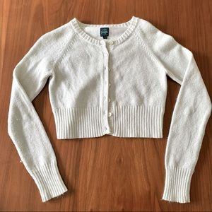 Mini Boden cropped shimmer ivory cream cardigan